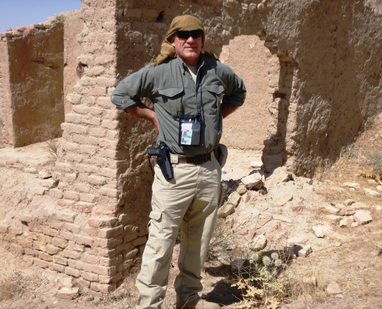 Greg Gangnuss, a civil engineer who worked as a senior environmental adviser to the Afghan Ministry of Defense, is shown in the field during his March 2015 to April 2016 deployment to Afghanistan. (Courtesy Photo)
