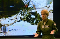"""Col. Laurel Burkel, a C-130H Hercules navigator, survived a broken neck during a helicopter crash in Afghanistan, 2015. She tells her story to a group of writers from various publications during the """"Real Airmen, Real Stories"""" portion of the Air Force's third annual Magazine Day at the Pentagon in Washington, D.C., June 21, 2017. (U.S. Air Force photo/Wayne A. Clark)"""