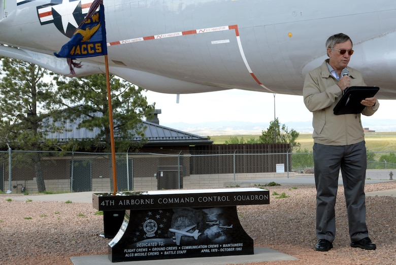 Retired Lt. Col. Richard Hodges, a former 4th Airborne Command Control Squadron commander, speaks at the 25th anniversary of the deactivation of the 4th ACCS at the South Dakota Air and Space Museum, Box Elder, S.D., June 24, 2017. During its nearly 23-year run, the squadron provided an airborne and auxiliary command post and a communications link for 15th Air Force and Strategic Air Command. (U.S. Air Force photo by Staff Sgt. Hailey Staker)