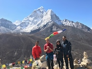 Members of team Whiteman stand over the mountains on the Mount Everest South Base Camp trail May 18, 2017. There are two base camps on opposite sides of Mount Everest, South Base Camp in Nepal and North Base Camp is in Tibet. (courtesy photo)