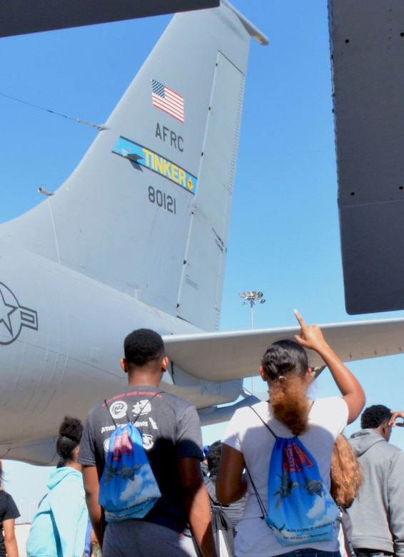 Future aviators from the Organization of Black Aerospace Professionals receive an in-depth look at a 507th Air Refueling Wing KC-135 Stratotanker here June 20, 2017. The young aviators observed how the Air Force Reserve directly fuels the fight through preparation, training and striving for combat-readiness during their three hour long orientation flight. (U.S. Air Force photo/Staff Sgt. Samantha Mathison)