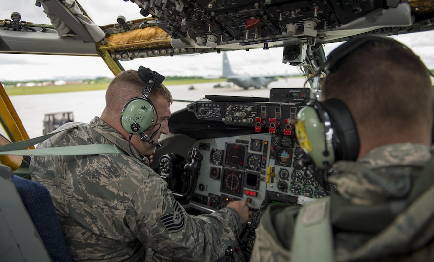 Tech. Sgt. Steven Arnold, 64th Air Refueling Squadron, New Hampshire Air National Guard, and Staff Sgt. Anthony Lewandowski, 914th Aircraft Maintenance, run various function checks on a KC-135 Stratotanker, June 27, 2017, Niagara Falls Air Reserve Station, N.Y. The 914th officially made the transition from an Airlift Wing, flying and maintaining the C-130 Hercules, to an Air Refueling Wing, flying the KC-135, at the beginning of June. Aircraft Maintenance personnel have since been training to familiarize themselves with the new aircraft. (U.S. Air Force photo by Tech. Sgt. Stephanie Sawyer)