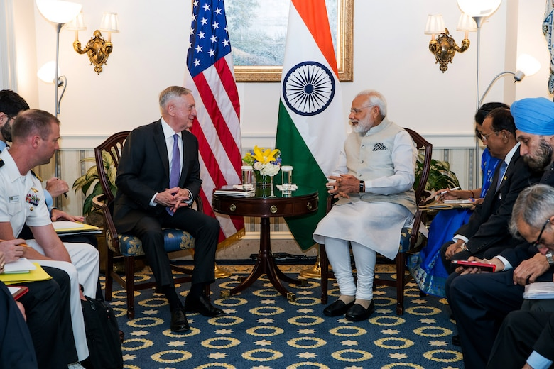 Defense Secretary Jim Mattis meets with Indian Prime Minister Narendra Modi in Washington, June 26, 2017.