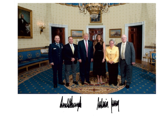 From the left, Chaplain (Capt.) Jeremy Caskey, Joshua Caskey, President Donald J. Trump, First Lady Melania Trump, Debra Caskey and Gerald Caskey pose for a photo in the White House, June 5. The Caskeys attended a Gold Star family reception with about 40 other families who have lost loved ones during wartime. (White House photo)