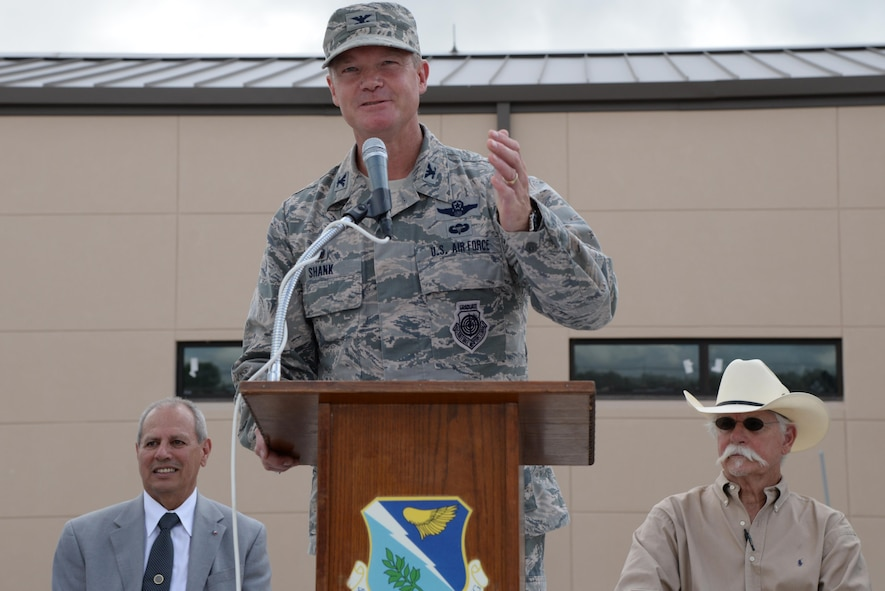 Col. Thomas Shank, 47th Flying Training Wing commander, gives the closing remarks at the ceremony dedicated to the development of the Defense Control Center at Laughlin Air Force Base, Texas, on June 26, 2017.  The new DCC building ensures the security of Laughlin and its Airmen by providing an enclosed, state-of-the-art inspection station for inbound traffic to Laughlin.