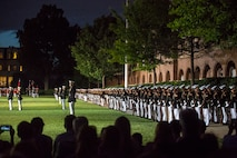 "Marching companies with Marine Barracks Washington D.C. perform ""fix bayonets"" during a Friday Evening Parade at the Barracks, June 23, 2017. The guest of honor for the parade was Lt. Gen. Thomas Trask, vice commander, United States Special Operations Command, and the hosting official was Lt. Gen. James Laster, director, Marine Corps Staff. (Official Marine Corps photo by Cpl. Robert Knapp/Released)"