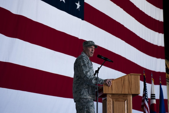 "U.S. Air Force Col. George Sebren, 8th Maintenance Group commander, speaks to the 8th Fighter Wing June 28, 2017, during a change of command ceremony at Kunsan Air Base, Republic of Korea. Sebren took command of the 8th MXG from Col. James Long and, upon assuming the position, received the title of ""Phoenix."" (U.S. Air Force photo by Senior Airman Colville McFee/Released)"