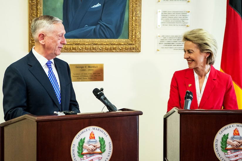 Defense Secretary Jim Mattis and Ursula von der Leyen, Germany's defense minister, meet the press at the George C. Marshall European Center for Security Studies in Garmisch-Partenkirchen, Germany, June 28, 2017. DoD photo by Air Force Staff Sgt. Jette Carr