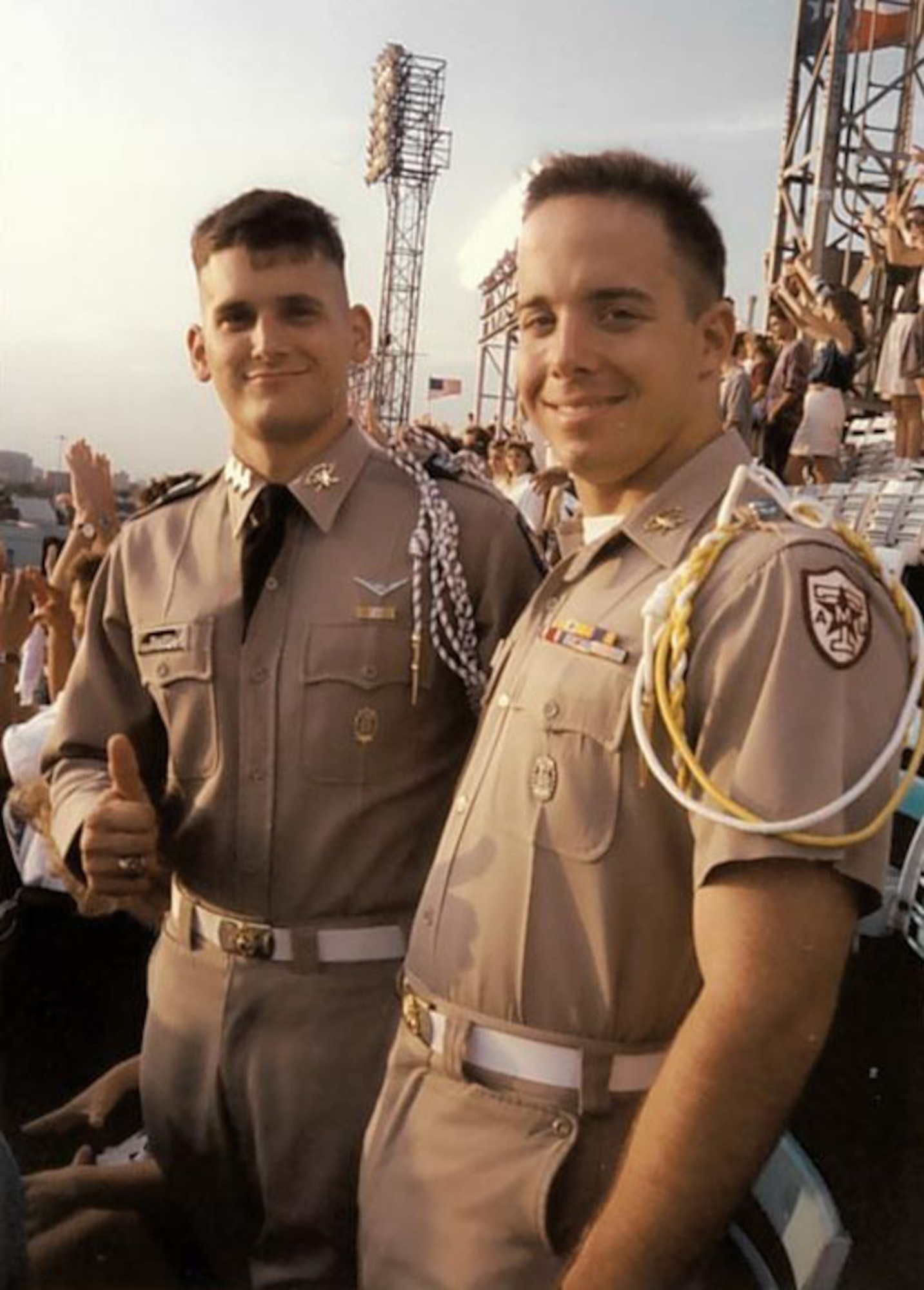 Texas A&M University cadets Douglas Thies, left, and David Vaclavik, stand for a picture in their uniforms at the Cotton Bowl Stadium in Dallas, Texas, circa 1992. The two cadets would eventually become U.S. Air Force colonels and take command of the 20th Operations Group and the 20th Mission Support Group, respectively, providing combat-ready F-16CM Fighting Falcon airpower and Airmen to suppress enemy air defenses and provide close air support in the U.S. Central Command's area of responsibility. (Courtesy photo)