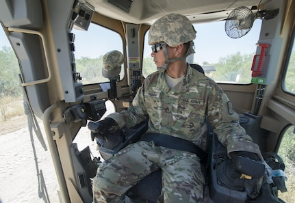 Sgt. Vincent Seman, assigned to the 277th Engineer Company based in San Antonio, prepares to use a road grader while repairing a 2.5-mile stretch of dirt road in a colonia near Laredo, Texas, as part of an Innovative Readiness Training mission June 23, 2017. Seman and nearly 200 Army Reserve Soldiers are participating in the mission along the Texas-Mexico border.  (Photo by Sean Kimmons)