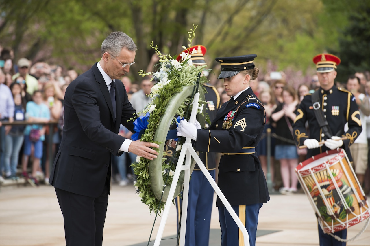 NATO Secretary General Jens Stoltenberg places a wreath at the Tomb of the Unknown Soldier during a ceremony at Arlington National Cemetery, Va., April 12, 2017. Army photo by Rachel Larue