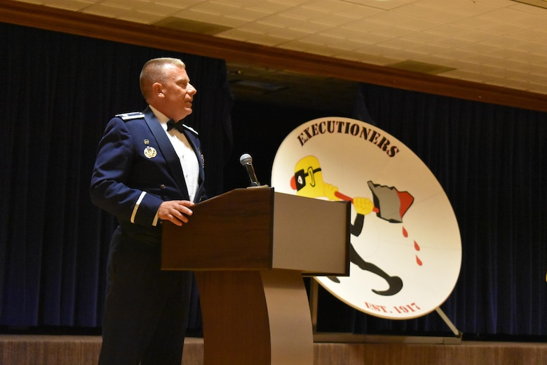 Col. Anthony Zilinsky, 25th Space Range Squadron commander, shares closing thoughts with guests during the Centennial Dinner Banquet at Peterson Air Force Base, Colorado, Wednesday, June 22, 2017. Zilinsky shared his pride for the men and women of the 25th with leadership of the past, present and the guests who accompanied them. (U.S. Air Force photo/2nd Lt. Scarlett Rodriguez)