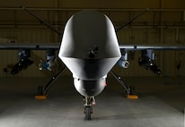 The new Block 5 MQ-9 Reaper is loaded with AGM-114 Hellfire missiles, a GBU-12 Paveway II laser-guided bomb and a GBU-38 Joint Direct Attack Munition April 13, 2017, at Creech Air Force Base, Nev. On 23 June, 2017, the latest version of the MQ-9 Reaper, the Block 5 variant, was successfully flown in combat in support of Operation Inherent Resolve. The aircrew flew a sortie of over 16 hours with a full payload of weapons including GBU-38 Joint Direct Attack Munitions and AGM-114 Hellfire missiles. During the mission, the crew employed one GBU-38 and two Hellfires while providing hours of armed reconnaissance for supported ground forces. The Block 5 is equipped with improved electrical and communications systems which provides better software and hardware upgrades for future operations. (U.S. Air Force photo/Senior Airman Christian Clausen)