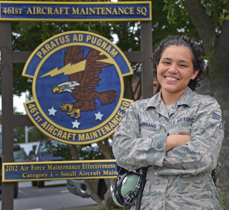 SrA. Inissa Zambrano, 461st Aircraft Maintenance Squadron. (U.S. Air Force photo by Tech. Sgt. Kelly Goonan/released)