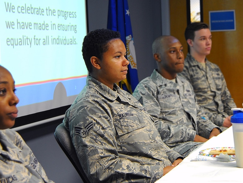 June is the LGBT pride month.  Robins Diversity Council hosted an LGBT Lunch and Learn Panel Discussion at the Professional Development Center, June 14, 2017. At the beginning, the panelists introduced themselves, the childhood, family, their life and work at Robins.  (U.S. Air Force photo by Misuzu Allen)