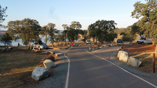A variety of campsites are seen at New Hogan Lake.