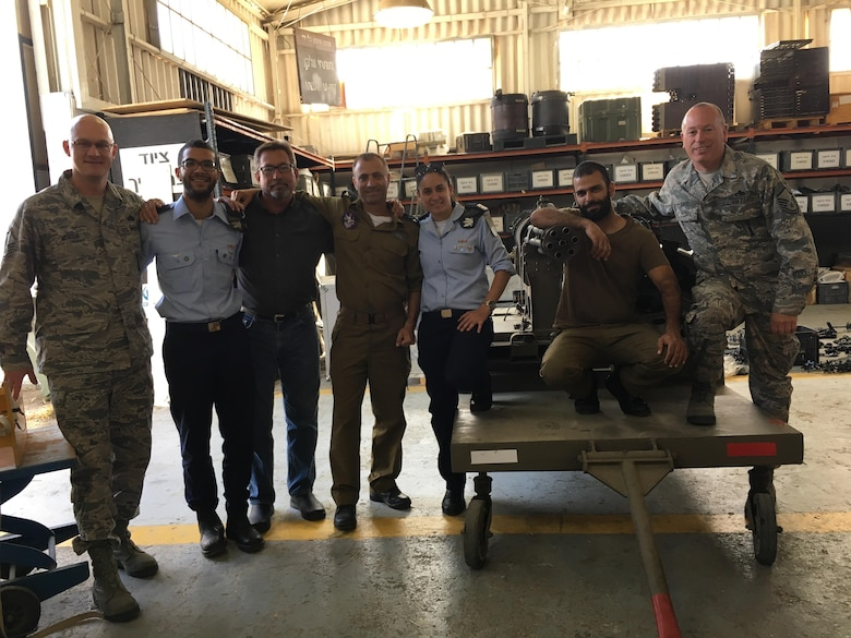 Master Sgts. Brian Monson and Greg Carte stand with their munitions counterparts in the Israeli Air Force, while on a joint training trip to the country, May 15, 2017. The Kingsley troops were asked to participate in the bilateral training because the jets originally belonged to the 173rd Fighter Wing and were transferred to Israel in an historic agreement last September. (Photo courtesy Master Sgt. Brian Monson)