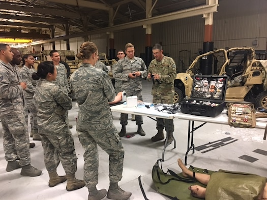 Class members from Emerge Moody receive a brief from Airmen in the 820th Base Defense Group May 2, 2017, at Moody Air Force Base, Ga. Emerge Moody spent the day with the 820th BDG learning about the organization's mission and capabilities. (Courtesy Photo)