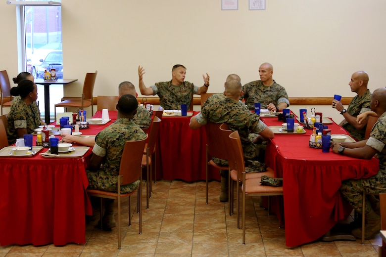 Maj. Gen. Matthew Glavy and Sgt. Maj. Howard Kreamer host a breakfast for 2nd Marine Aircraft Wing staff noncommissioned officers at Marine Corps Air Station Cherry Point, N.C., June 28, 2017. Glavy and Kreamer hosted the breakfast to gather senior leaders from 2nd MAW to discuss key issues, including aviation readiness, troop welfare and leadership development. Glavy is the commanding general, and Kreamer is the sergeant major for 2nd MAW. (U.S. Marine Corps photo by Cpl. Jason Jimenez/ Released)