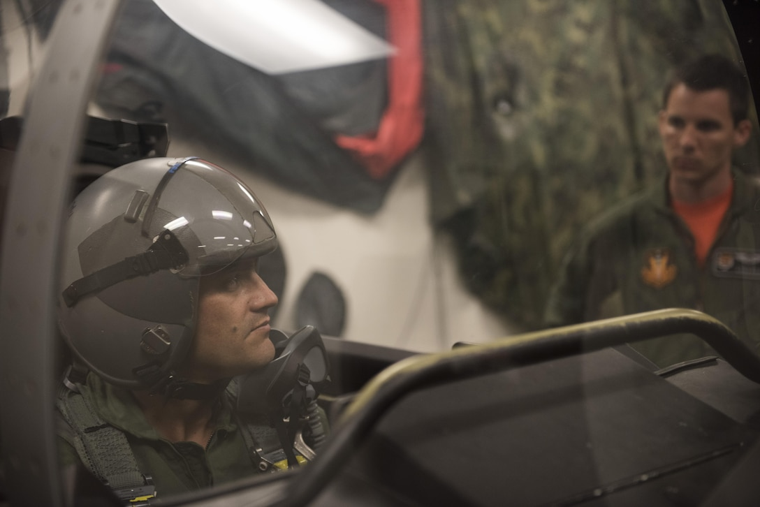 Vice Chairman Buster Gibson of the Shoshone-Paiute Tribes of the Duck Valley Indian Reservation gets training for his orientation flight, June 16, 2017, at Mountain Home Air Force Base, Idaho. Gibson sits in the simulated cockpit to get a feel for how the actual flight will be. (U.S. Air Force photo by Airman 1st Class Alaysia Berry/Released)