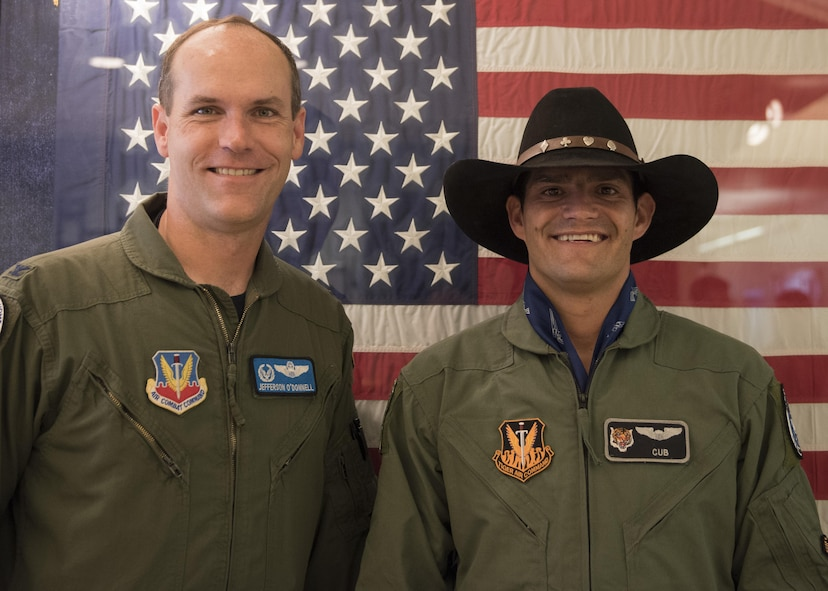 Vice Chairman Buster Gibson of the Shoshone-Paiute Tribes of the Duck Valley Indian Reservation poses for a photo with Col. Jefferson O'Donnell, 366th Fighter Wing commander, June 16, 2017, at Mountain Home Air Force Base, Idaho. O'Donnell was the pilot for Gibson's orientation flight. (U.S. Air Force photo by Airman 1st Class Alaysia Berry/Released)