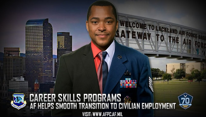 Airmen who meet certain qualifications can participate in civilian job and employment training, including apprenticeships and internships, starting up to six months prior to their separation or retirement via the Career Skills Program. (U.S. Air Force graphic by Staff Sgt. Alexx Pons)