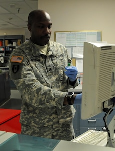 Sgt. Tobias Johnson, a medical laboratory specialist assigned to 7389th Blood Det. located in San Antonio, Texas, is one of approximately 25 U.S. Army Reserve Soldiers who are working in partnership with Rosebud Indian Health Service to provide medical care to the local tribal population.