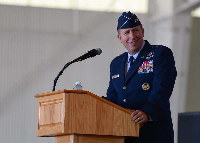 U.S. Air Force Major General Patrick Doherty, 19th Air Force commander, observes the audience for the 47th Flying Training Wing's change of command ceremony at Laughlin Air Force Base, Tx., June 28, 2017.  General Doherty is a command pilot with more than 3,800 flying hours, and commands more than 32,000 personnel.