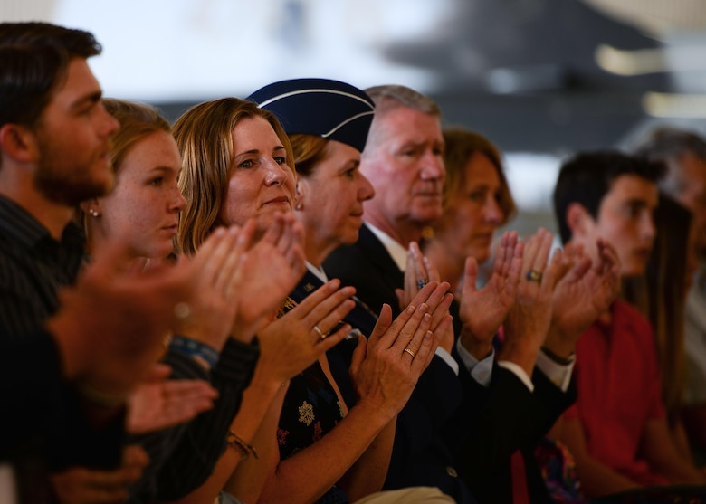 Audience members observe the 47th Flying Training Wing's change of command ceremony at Laughlin Air Force Base, Tx., June 28, 2017. U.S. Air Force General Lori Robinson, North American Aerospace Defense Command commander, and Major General Patrick Doherty, 19th Air Force commander also attended the event.