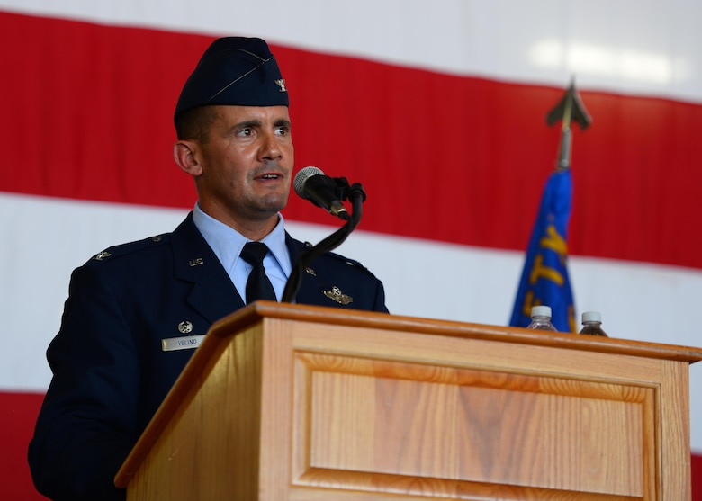 U.S. Air Force Col. Charles Velino, incoming 47th Flying Training Wing commander, speaks to those attending the wing's change of command ceremony at Laughlin Air Force Base, Tx., June 28, 2017. Col. Velino, is the former 15th Operations Group commander at Joint Base Pearl Harbor-Hickam, Hawaii, and is a former Laughlin undergraduate pilot trainee.