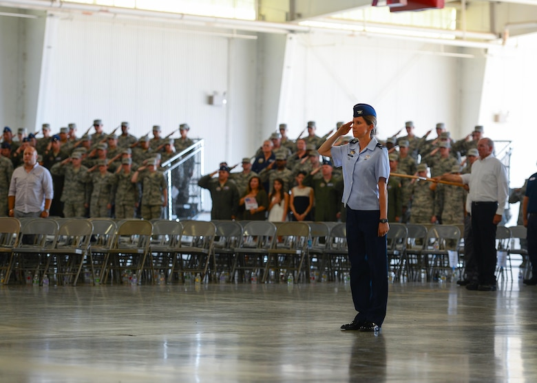 U.S. Air Force Col. Michelle Pryor, 47th Flying Training Wing vice commander, renders a salute in formation at the wing's change of command ceremony at Laughlin Air Force Base, Tx., June 28, 2017.  Col. Pryor is a command pilot with more than 2,000 flight hours and oversees the base's operations and undergraduate pilot training program.