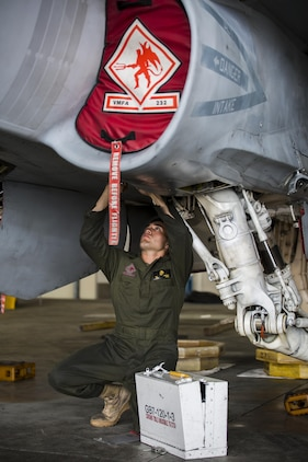 U.S. Marine Corps Lance Cpl. Andrew Demars, an airframe mechanic with Marine Fighter Attack Squadron (VMFA) 232, conducts maintenance on an F/A-18C Hornet during scheduled phase maintenance at Marine Corps Air Station Iwakuni, Japan, June 27, 2017. When aircraft go through phase maintenance, mechanics are able to perform in-depth maintenance to enhance the welfare of the aircraft. The definitive objective of the evaluation is to ensure mission accomplishment and safety of operations around the Indo-Asia Pacific region. (U.S. Marine Corps photo by Lance Cpl. Mason Roy)