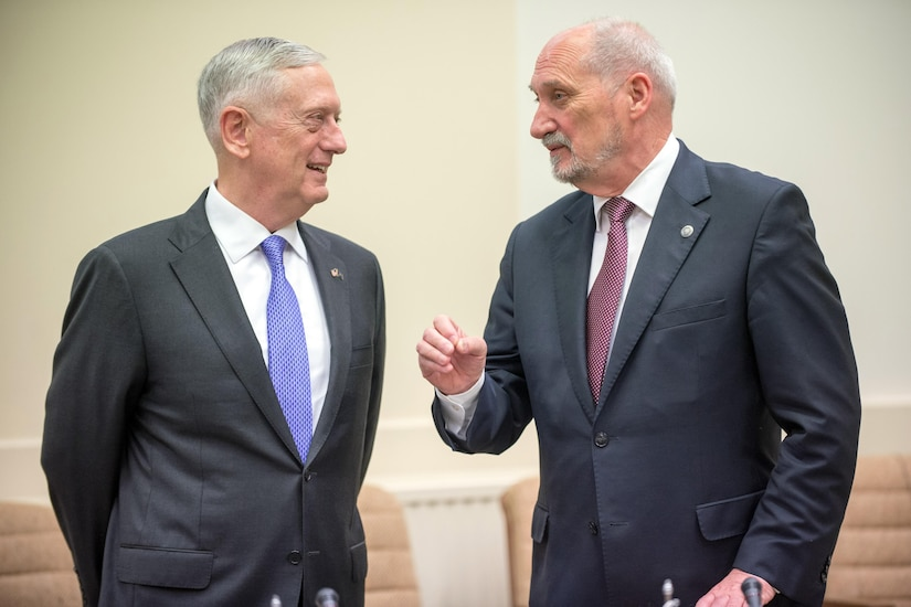 Defense Secretary Jim Mattis talks with Polish Defense Minister Antoni Macierewicz prior to a meeting at NATO headquarters in Brussels, June 29, 2017. DoD photo by Air Force Staff Sgt. Jette Carr
