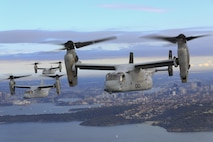 A set of MV-22B Osprey tiltrotor aircraft fly in formation above the Pacific Ocean off the coast of Sydney, Australia, June 29, 2017. The MV-22Bs belong to Marine Medium Tiltrotor Squadron 265. VMM-265 is part of the Aviation Combat Element of the 31st Marine Expeditionary Unit. The 31st MEU and the Bonhomme Richard Expeditionary Strike Group arrived in Sydney after transiting south across the vast Pacific Ocean, from Okinawa, Japan, to southeastern Australia in just over three weeks. Sydney is a favorite port stop for both Marines and Sailors crossing the Pacific. The 31st MEU partners with the Navy's Amphibious Squadron 11 to form the amphibious component of the Bonhomme Richard Expeditionary Strike Group. The 31st MEU and PHIBRON 11 combine to provide a cohesive blue-green team capable of accomplishing a variety of missions across the Indo-Asia-Pacific region.