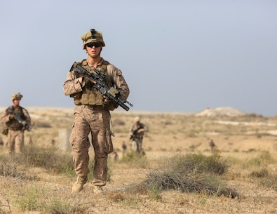 U.S. Marine Corps Lance Cpl. Brady Post, a rifleman with Charlie Company, 1st Battalion, 7th Marine Regiment, Special Purpose Marine Air-Ground Task Force-Crisis Response-Central Command and Saudi Arabian Naval Special Forces conduct patrols during a subject matter expert exchange in Saudi Arabia, May 16, 2017. The exchange proved to be an enhancing opportunity for both the U.S. and Saudi forces. Deploying U.S. Marines into the U.S. Central Command area of responsibility to conduct combined military training with our partner nations' security forces strengthens our vital relationships with partners in this important region. (U.S. Marine Corps photo by Cpl. Kyle McNan)