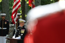 On Wednesday, June 28, 2017, members of the Marine Band supported a wreath-laying ceremony in honor of the Marines who fought in the Korean War. President Moon Jae-in of the Republic of Korea honored the Marines at the Korean War Chosin Monument at the National Museum of the Marine Corps. In 1950, President Moon's parents were able to flee to South Korea after the 1st Marine Division drove the enemy back. Today, he showed his gratitude for all the Marine Corps did for his family. (U.S. Marine Corps photo by Gunnery Sgt. Rachel Ghadiali/released)