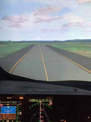 "Realism in the C-5M simulator includes ""scenes"" of Westover's flight line and this taxiway. (U.S. Air Force photo by Lt. Col. Jon Carlson)"