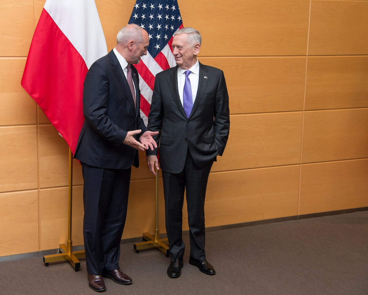Defense Secretary Jim Mattis, right, meets with Polish Defense Minister Antoni Macierewicz at NATO headquarters in Brussels, June 29, 2017. DoD photo by Air Force Staff Sgt. Jette Carr