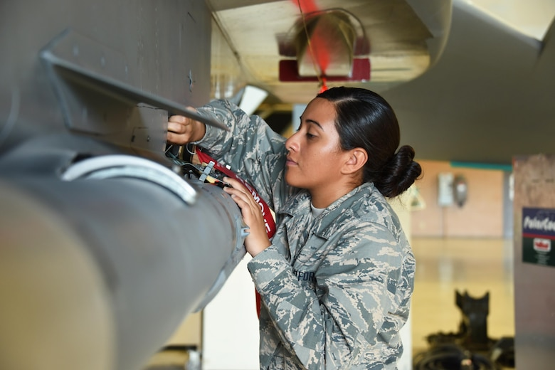 Airman Tyana Haylock, 363rd Training Squadron F-15 Eagle aircraft armament systems apprentice student inspects munitions launch, release, suspension, and monitor systems and associated handling and loading equipment at Sheppard Air Force Base, Texas. The 363rd Training Squadron provides training for armament, munitions, nuclear weapons and maintenance scheduling and analysis. (U.S. Air Force photo/Liz H. Colunga)