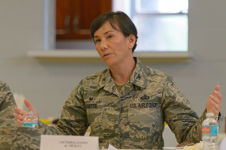 Col. Debra Lovette, 81st Training Wing commander, talks to the chaplain staff on how their vision compliments the wing's vision during a Wing Staff Agency orientation tour at the Larcher Chapel Annex June 26, 2017, on Keesler Air Force Base, Miss. The tour familiarized Lovette with the Wing Staff Agency mission, operations and personnel. (U.S. Air Force photo by André Askew)