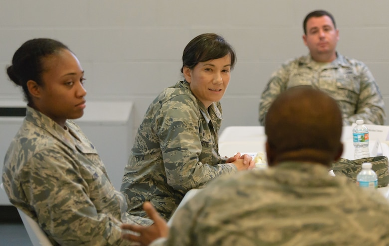 Col. Debra Lovette, 81st Training Wing commander, is briefed by Chaplain (Maj.) Laserian Nwoga, 81st TRW chaplain, on chaplain capabilities and responsibilities during a Wing Staff Agency orientation tour at the Larcher Chapel Annex June 26, 2017, on Keesler Air Force Base, Miss. The tour familiarized Lovette with the Wing Staff Agency mission, operations and personnel. (U.S. Air Force photo by André Askew)