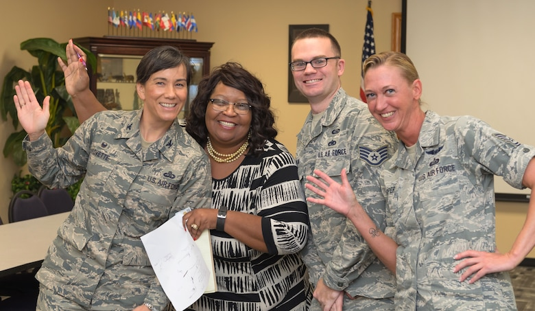 Col. Debra Lovette, 81st Training Wing commander, poses for a photo with Equal Opportunity Office staff members during a Wing Staff Agency orientation tour June 26, 2017, on Keesler Air Force Base, Miss. The tour familiarized Lovette with the Wing Staff Agency mission, operations and personnel. (U.S. Air Force photo by Andrew Whitman)