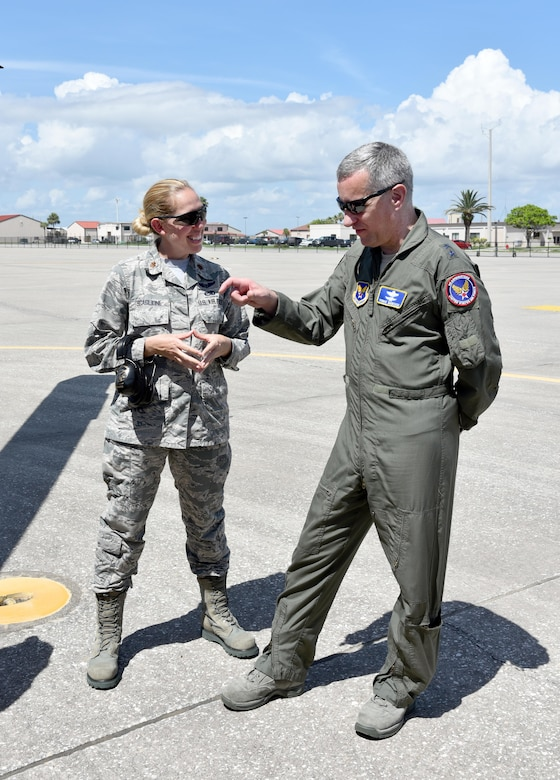 Maj. Gen. Vincent Mancuso, right, Air Staff deputy director, Pentagon, talks with Maj. Sarah Scaglione, 920th Aircraft Maintenance Squadron commander, during a tour of an HH-60G Pave Hawk helicopter June 23, 2017 on the flight line at Patrick Air Force Base, Florida. During the general's visit of the 920th Rescue Wing, he received a mission briefing, toured the 308th Rescue Squadron Guardian Angels facility and visited with HC-130 and HH-60G aviators and maintainers. (U.S. Air Force photo/Tech. Sgt. Lindsey Maurice)