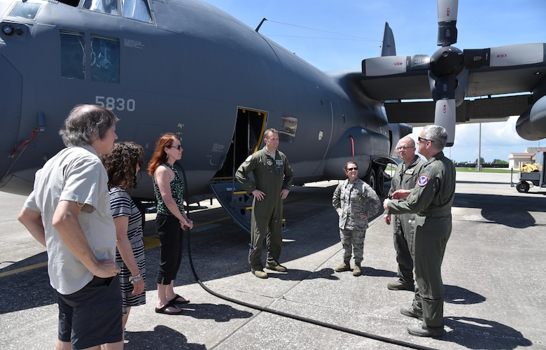 Aviators and maintainers of the 920th Rescue Wing guide Maj. Gen. Vincent Mancuso, right, Air Staff deputy director, Pentagon, and his guests on a tour of the HC-130 Hercules June 23, 2017 at Patrick Air Force Base, Florida. During the general's visit of the 920th Rescue Wing, he received a mission briefing, toured the 308th Rescue Squadron Guardian Angels facility and visited with HC-130 and HH-60G aviators and maintainers. (U.S. Air Force photo/Tech. Sgt. Lindsey Maurice)