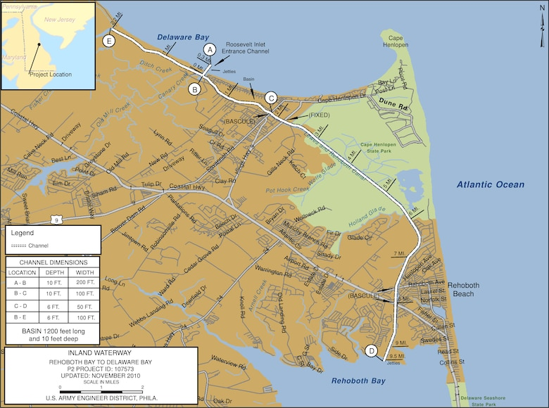 Inland Waterway, Rehoboth Bay to Delaware Bay Project Index Map
