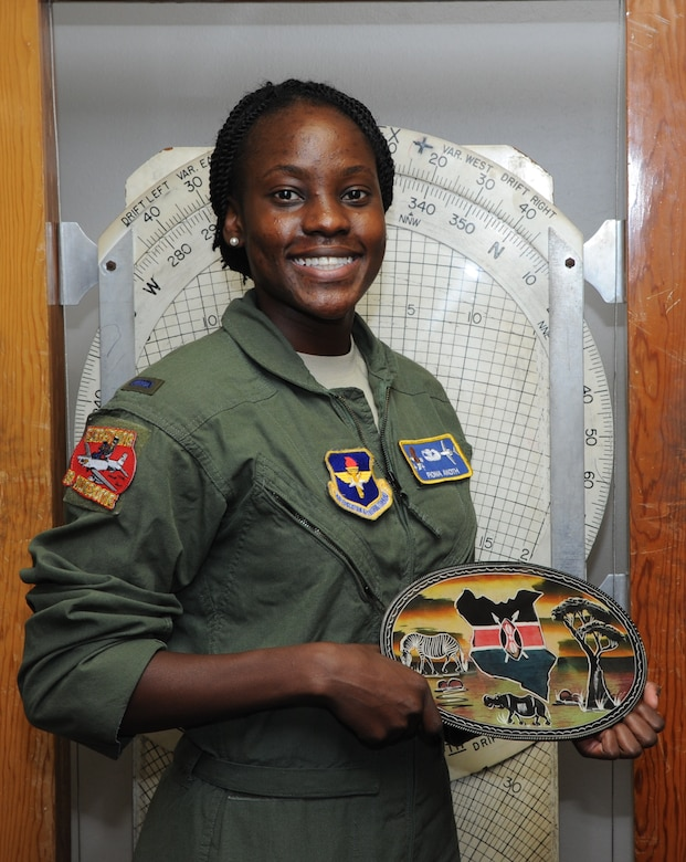 First Lt. Fiona Akoth, 14th Student Squadron Student Pilot, holds a ceramic Kenyan decoration June 16, 2017, at Columbus Air Force Base, Mississippi. Akoth has always wanted to be a pilot and is excited to be in the Air Force. (U.S. Air Force photo by Airman 1st Class Beaux Hebert)