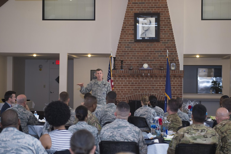 Col. Thomas Kunkel, 23d Wing commander, commends the students of the 2017 Emerge Moody, Leadership Moody classes during a graduation ceremony, June 23, 2017, at Moody Air Force Base, Ga. Kunkel encouraged the graduates to pay it forward and make their experience worth more by passing their newly gained skills to units to invest in themselves and others. During the nine-month program, Emerge Moody students broadened their view of how they fit into the overall Moody and larger Air Force mission, while Leadership Moody students learned local community agencies' best practices and challenges of leaders from non-military perspectives. (U.S. Air Force photo by Senior Airman Greg Nash)