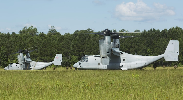 Marines with Fox Company, 2nd Battalion, 2nd Marine Regiment disembark from MV-22B Ospreys during a Tactical Recovery of Aircraft and Personnel exercise at Camp Lejeune, N.C., June 29, 2017. The Marines conducted the TRAP as part of their Certification Exercise in preparation for an upcoming deployment as the Special Purpose Marine Air-Ground Task Force-Crisis Response-Africa. Due to the time-sensitive nature of a TRAP mission, the Marines constantly train to maintain and improve their proficiency in recovering personnel and destroying or retrieving classified equipment. (U.S. Marine Corps photo by Lance Cpl. Raul Torres)