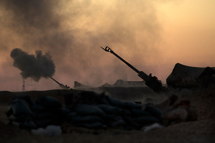 U.S. Marines fire an M777A2 howitzer in Syria, June 2, 2017. The Marines have been conducting 24-hour, all-weather fire support for the coalition's local partners, the Syrian Democratic Forces, as part of Combined Joint Task Force Operation Inherent Resolve. CJTF-OIR is the global coalition to defeat ISIS in Iraq and Syria. Marine Corps photo by Sgt. Matthew Callahan