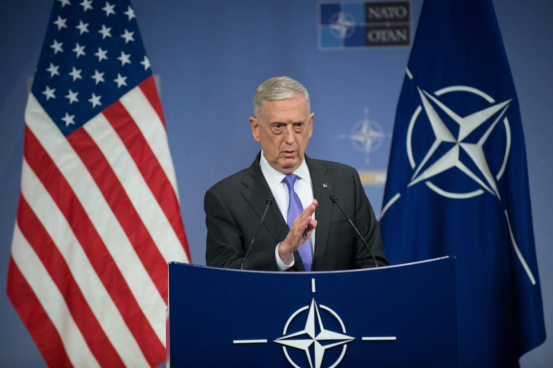 Defense Secretary Jim Mattis briefs the press at NATO headquarters in Brussels, June 29, 2017. DoD photo by Air Force Staff Sgt. Jette Carr